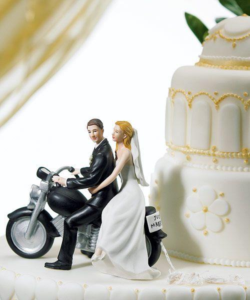 Wedding Cake Topper.Motorcycle Wedding Cake Topper